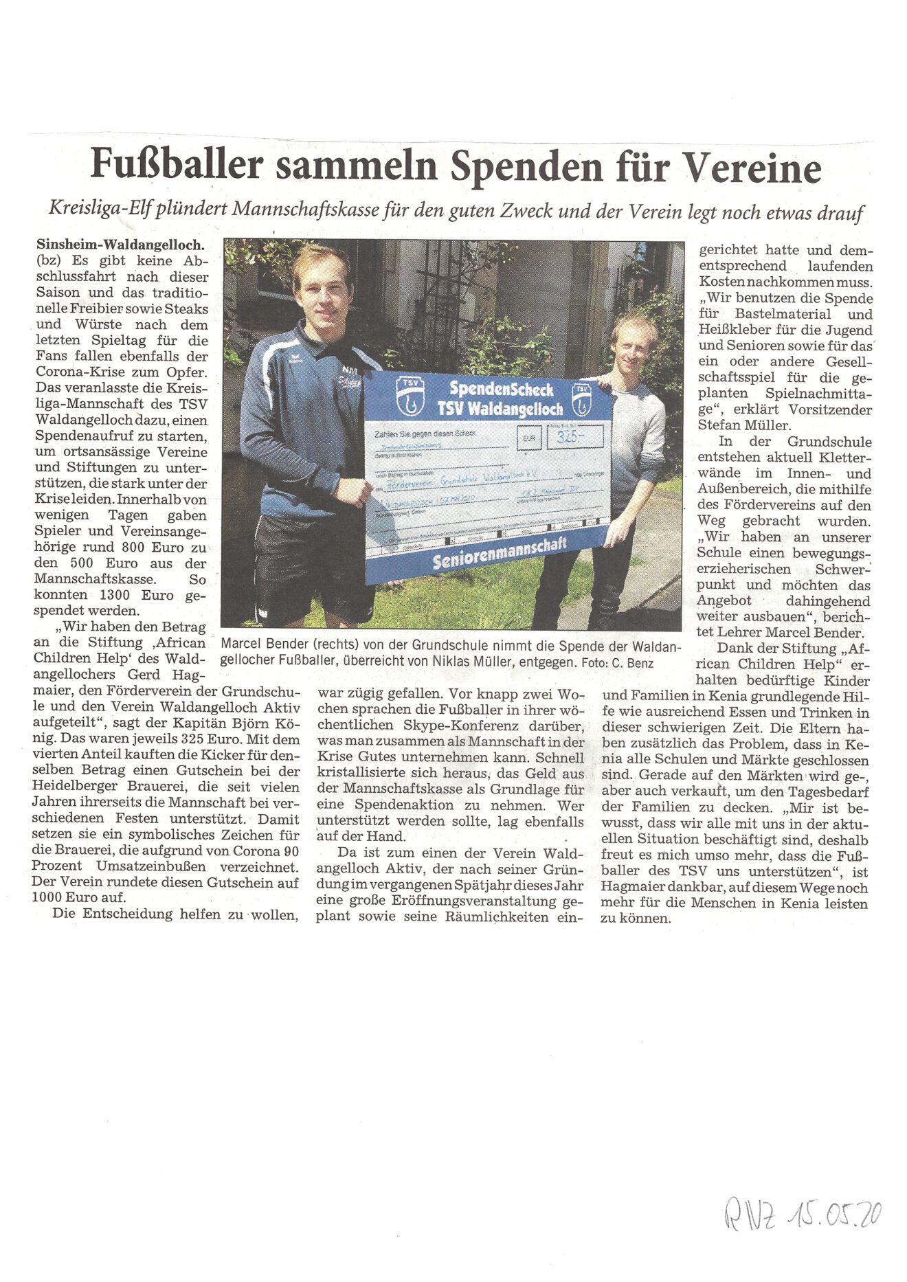 RNZ: Fußballer sammeln Spenden für Vereine