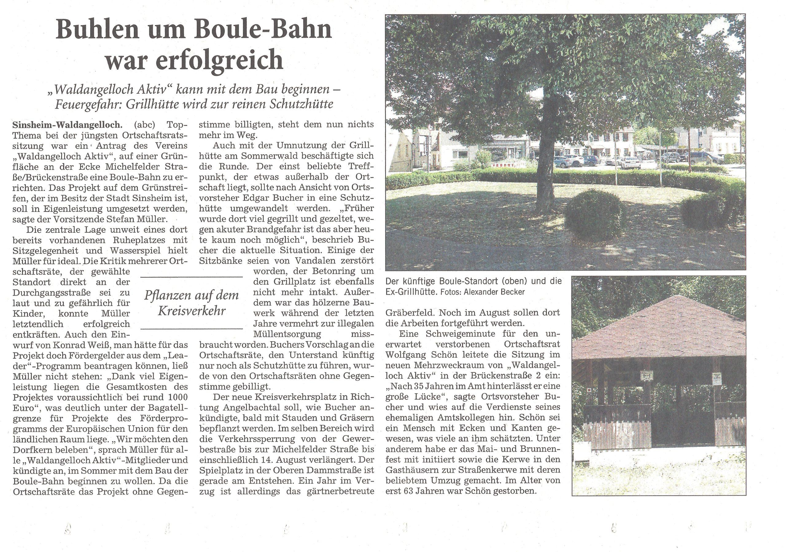 Entscheidung Bau Boule-Bahn